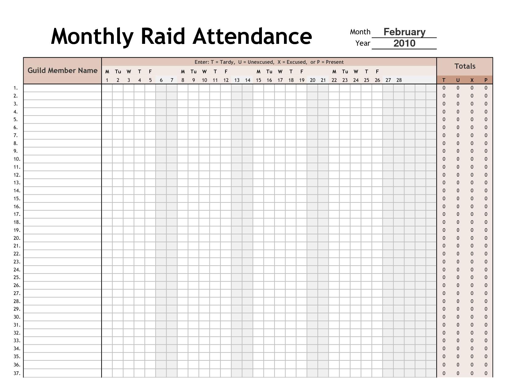 attendance calendar template 2018