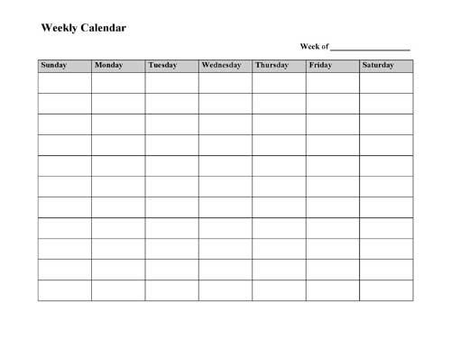 Printable Weekly Calendar Template 2017
