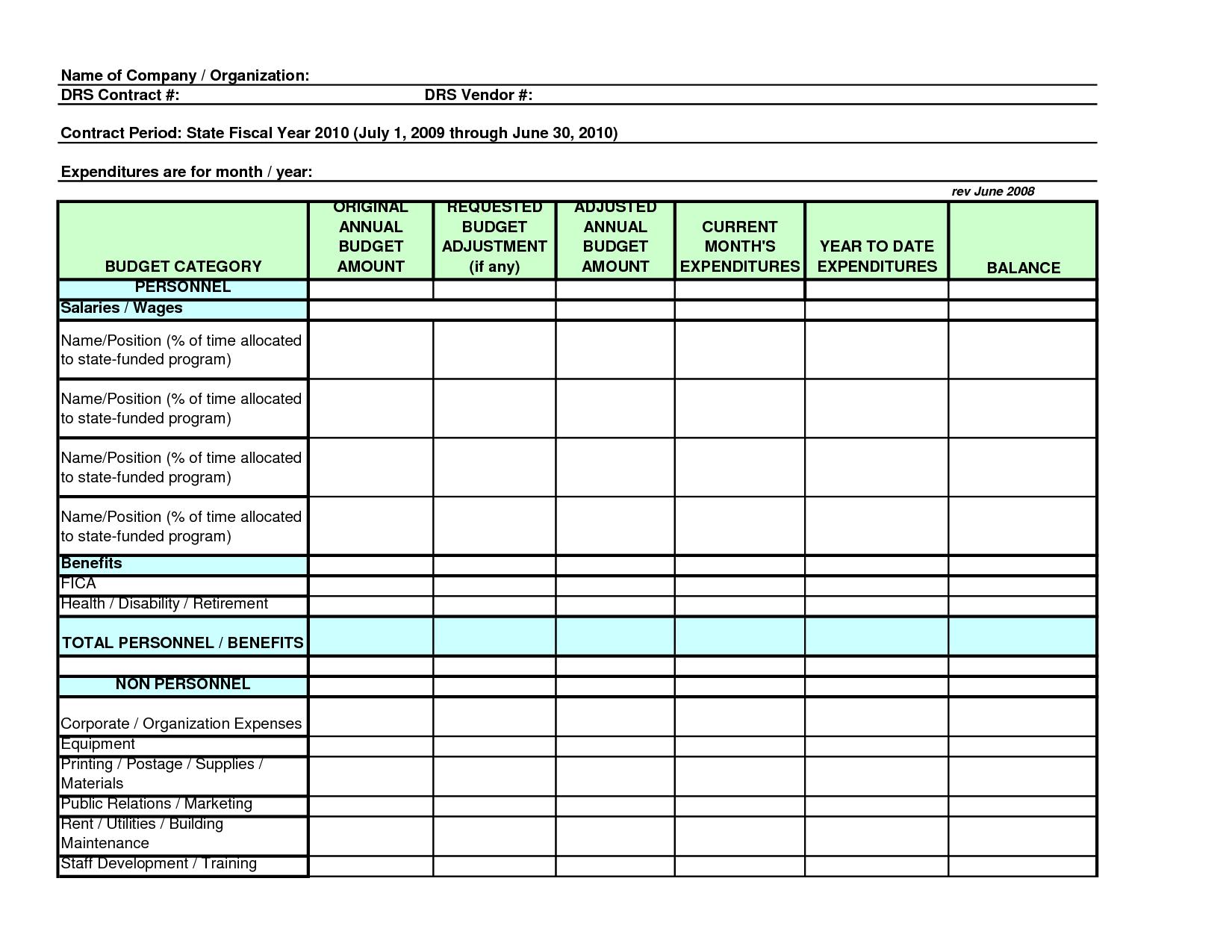 Training Spreadsheet Template