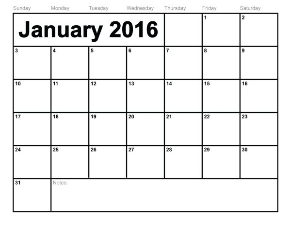 January 2016 Printable Monthly Calendar Template