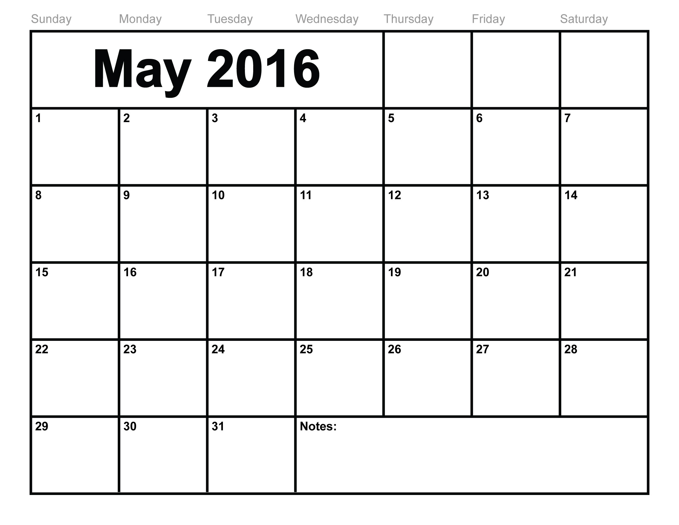 May 2016 Printable Monthly Calendar Template