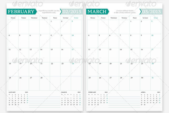 InDesign Calendar Templates 2013