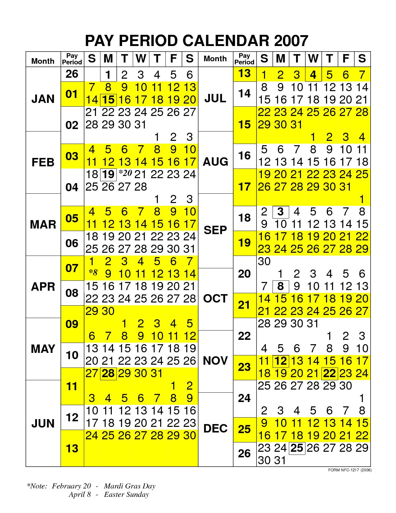 Fy16 Federal Pay Period Calendar | Calendar Template 2018