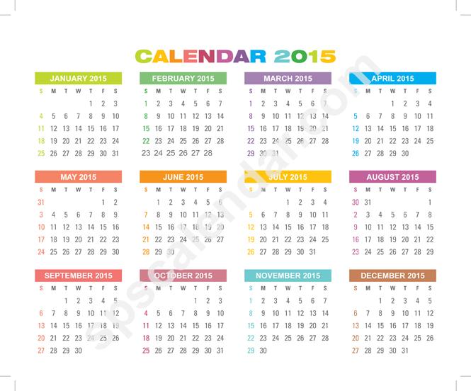 Small Calendar 2015 Printable