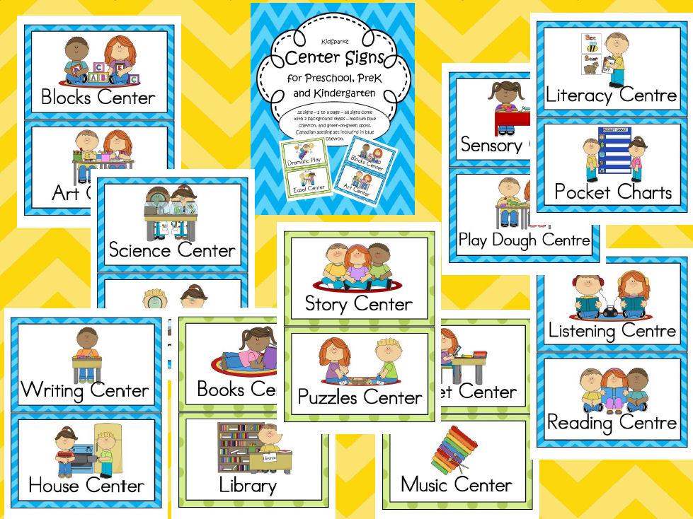 Preschool Classroom Center Signs