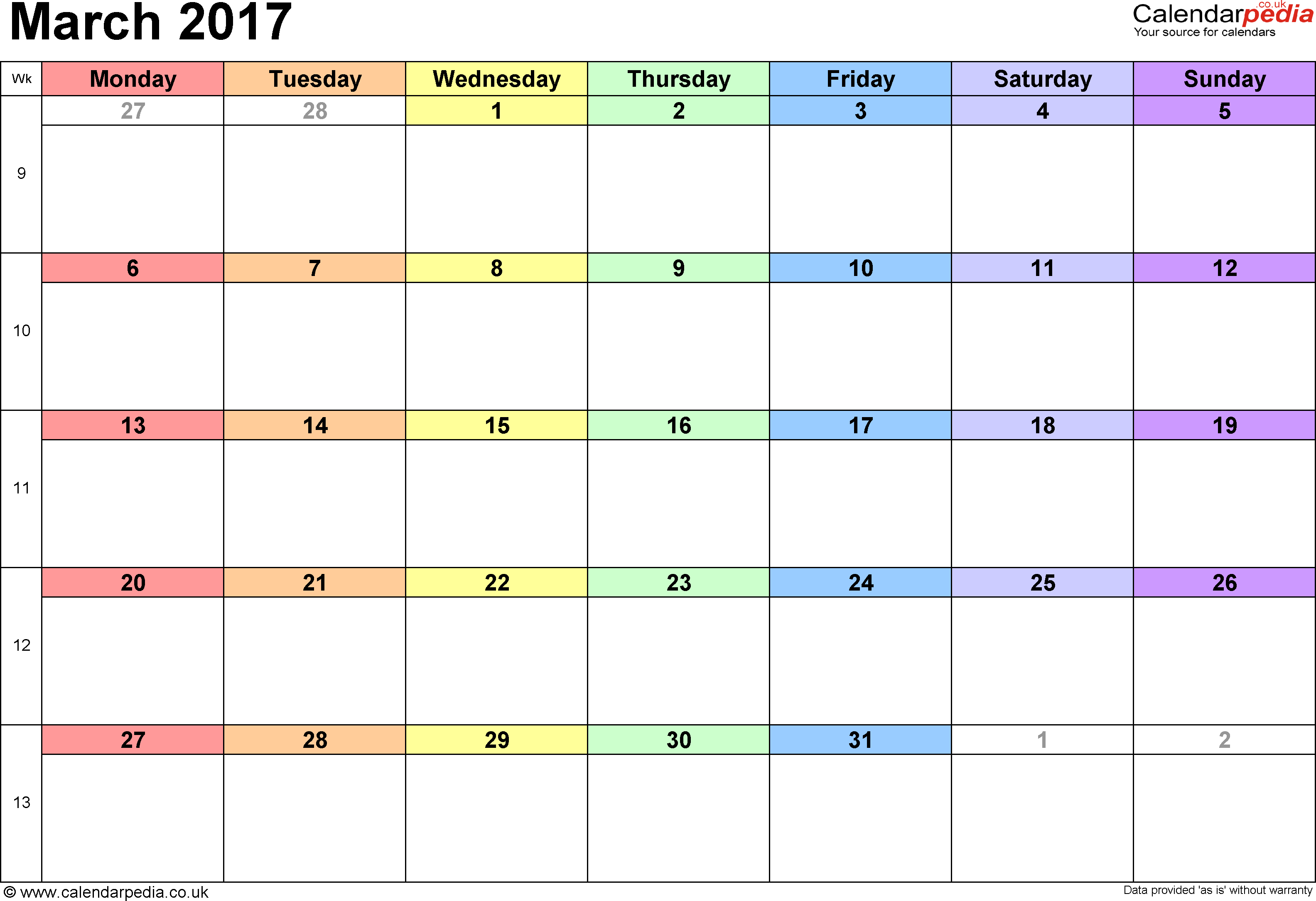 March 2016 Calendar with Holidays