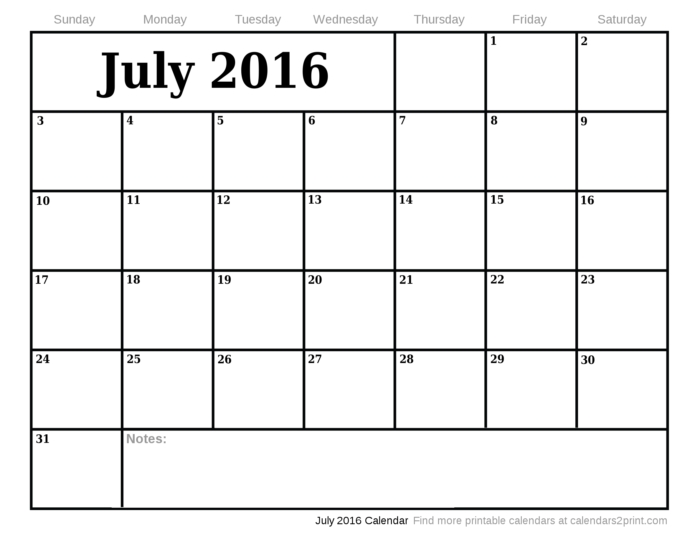 July and August Calendar 2016