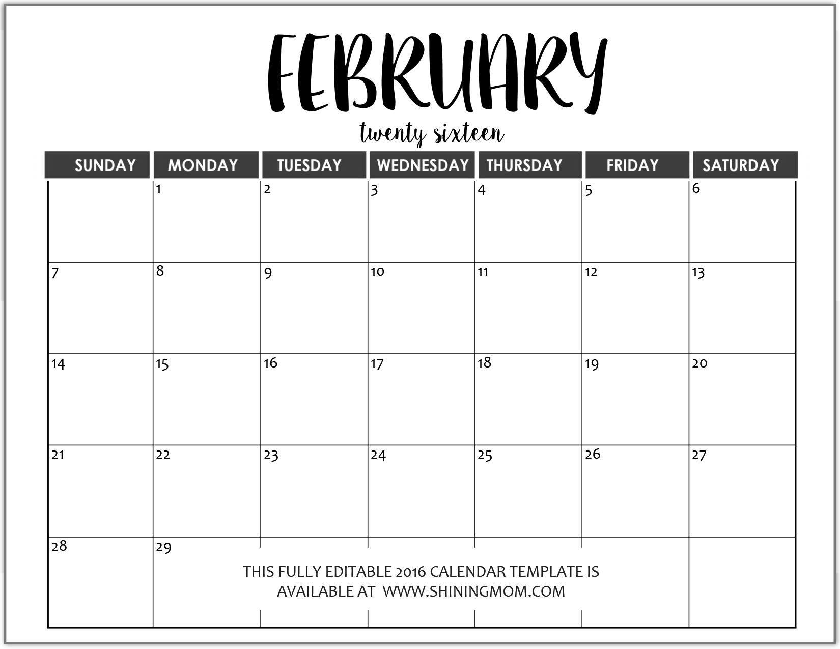 February 2016 Calendar Template Editable