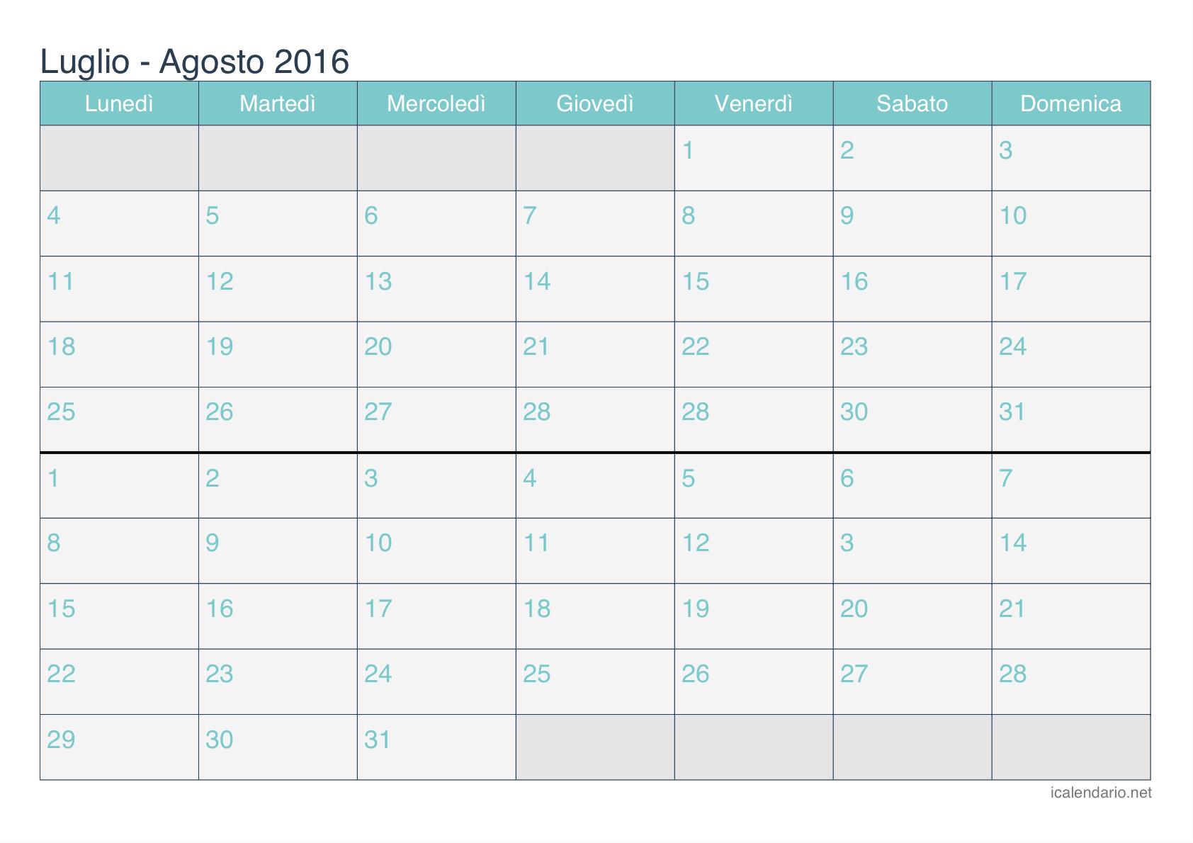 Agosto Calendario De 2016