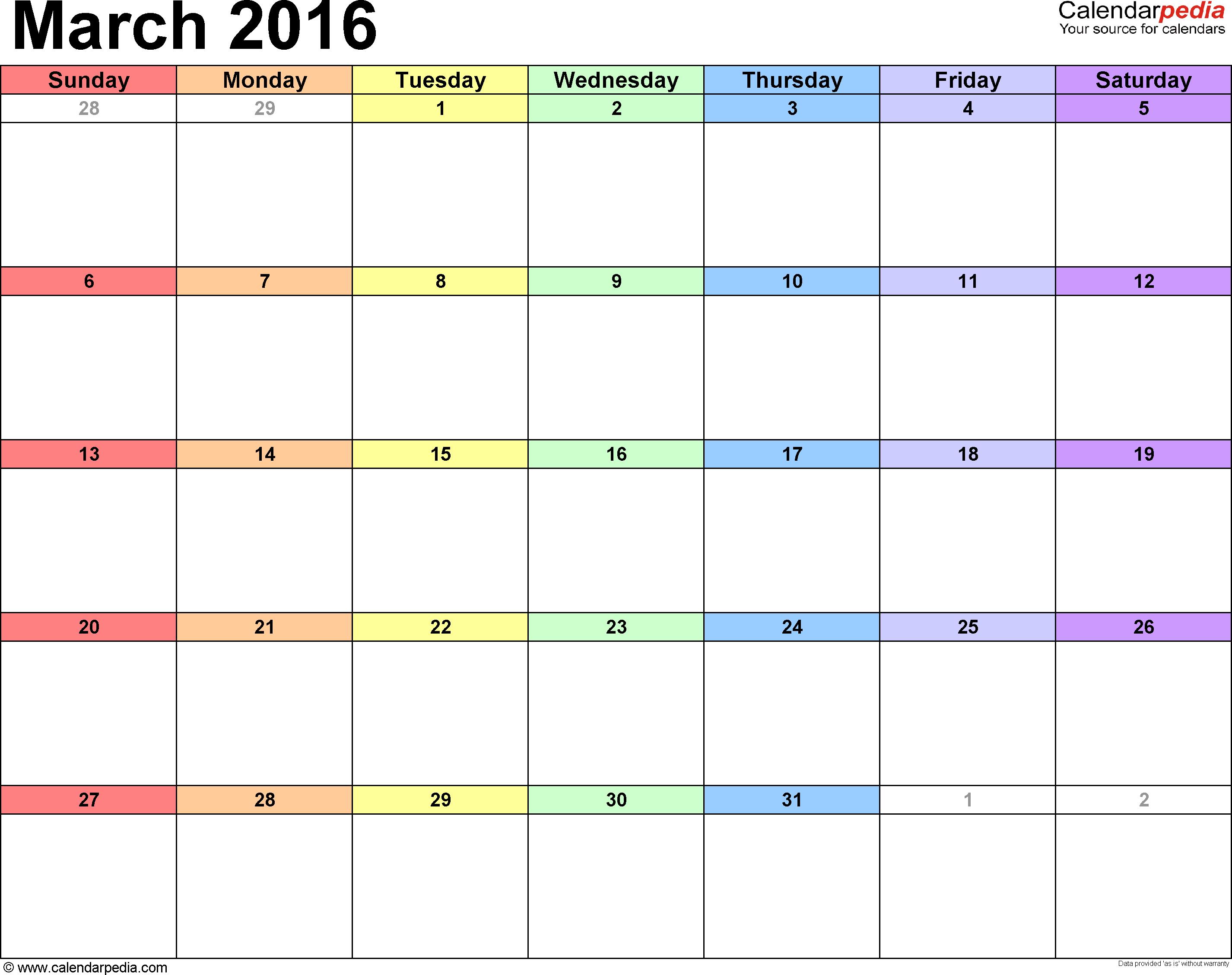 March 2016 Calendar Template