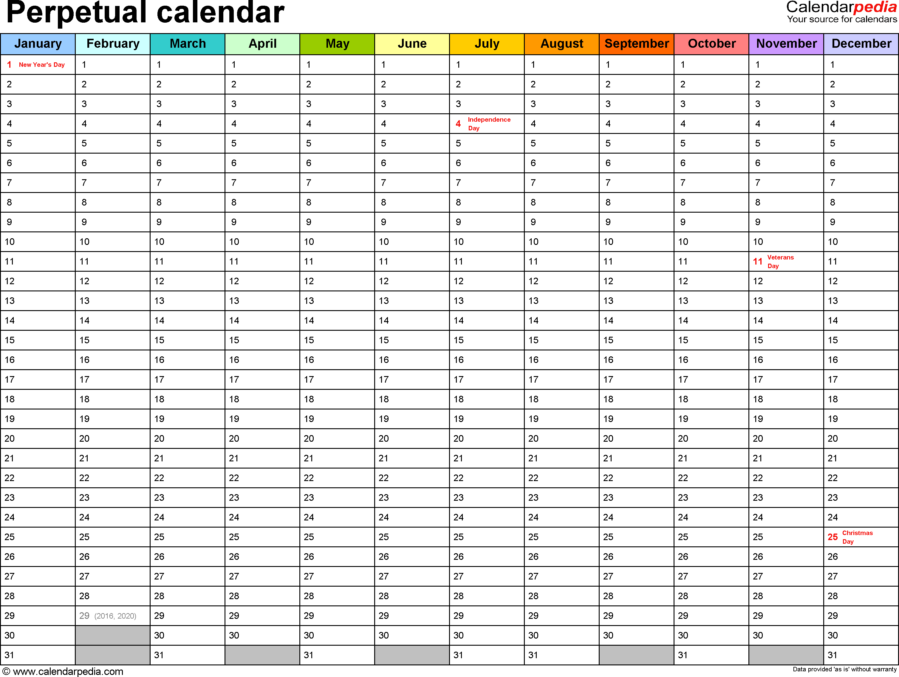 Perpetual Calendar 2016 Printable One Page Templates