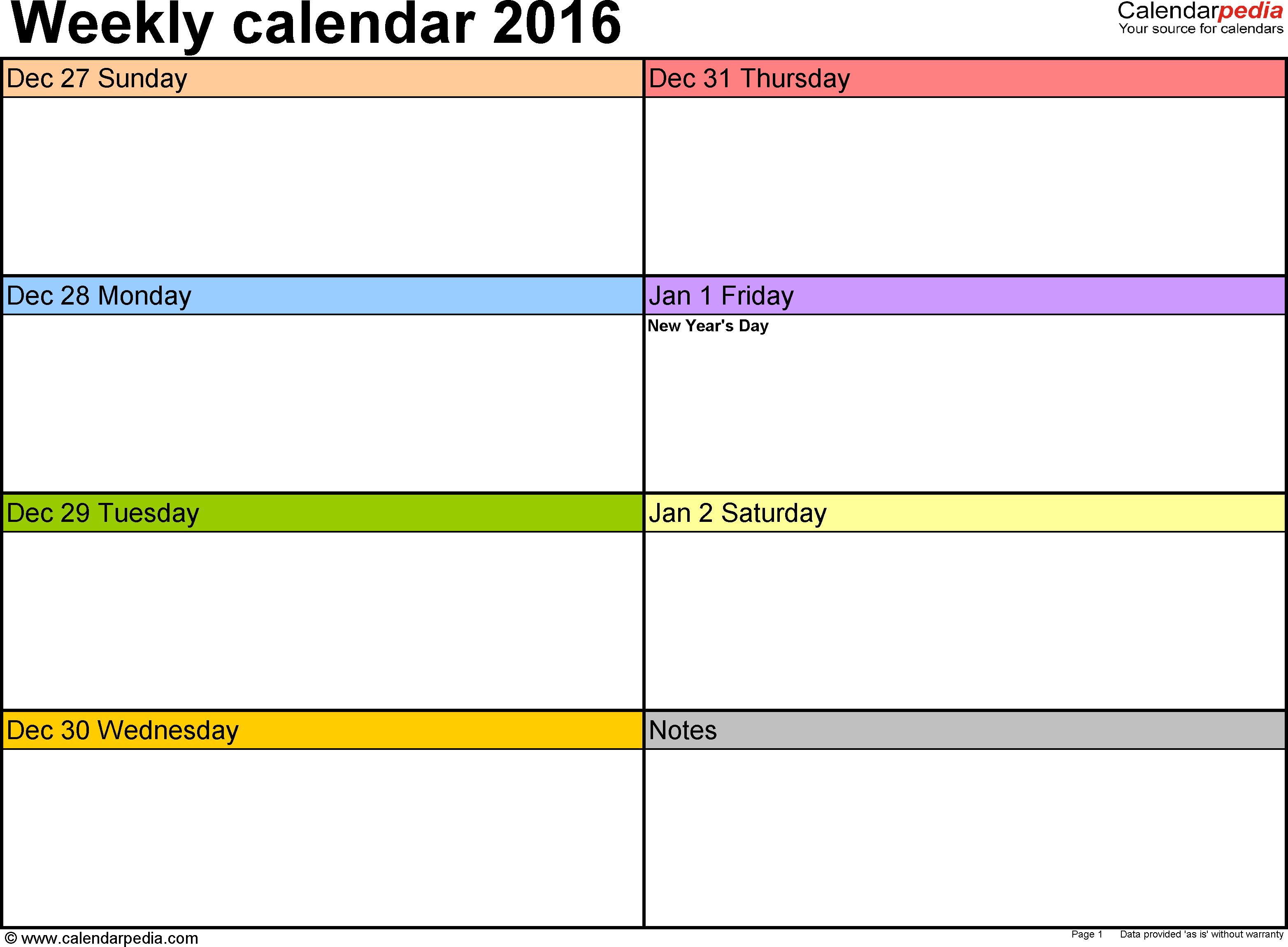 Free Printable Weekly Calendar Templates 2015