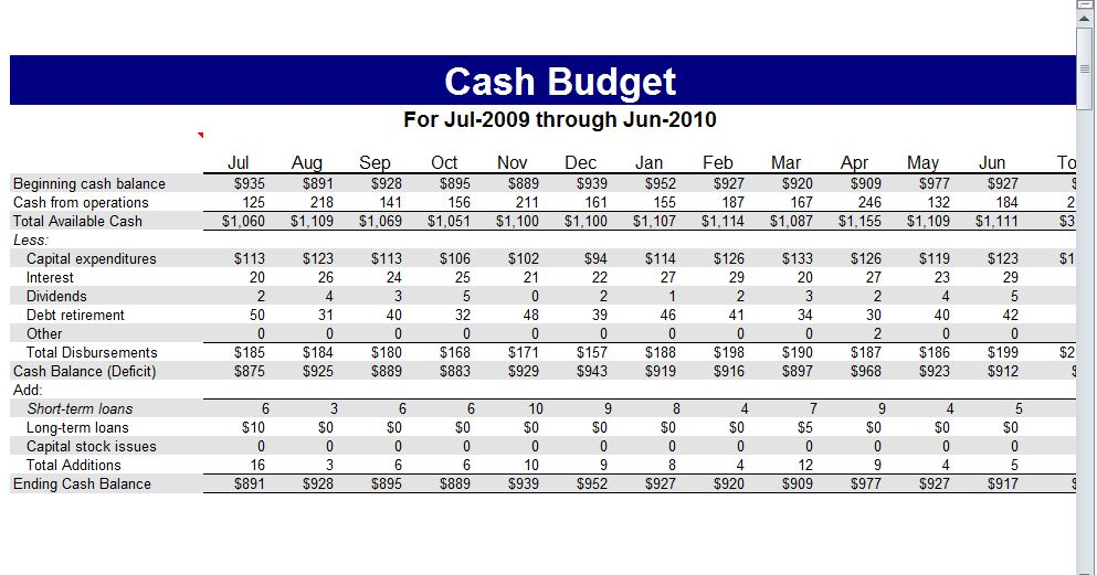 Example Cash Budget Template