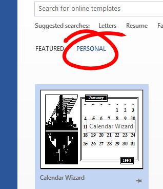 Microsoft Word Calendar Wizard