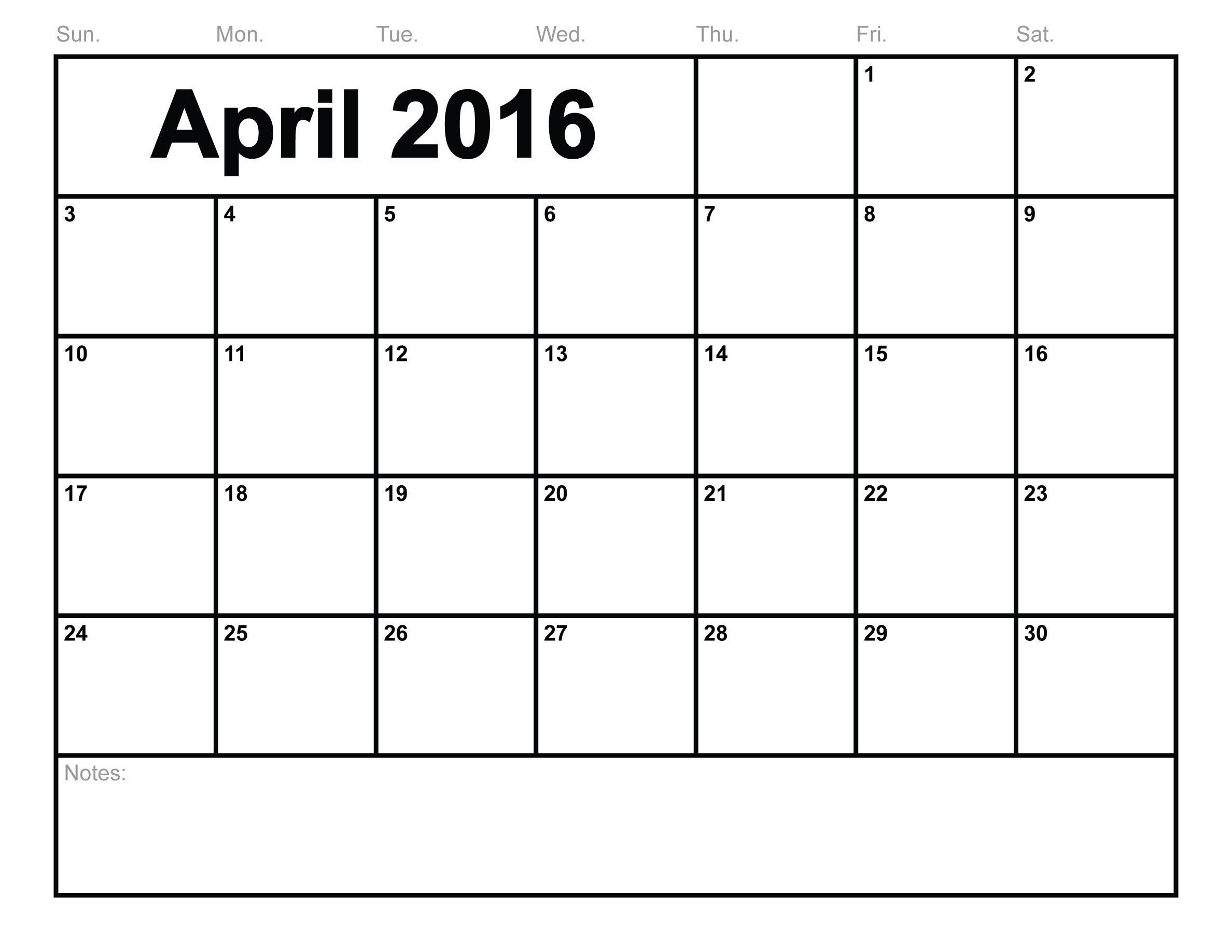 April 2016 Calendar Printable Org