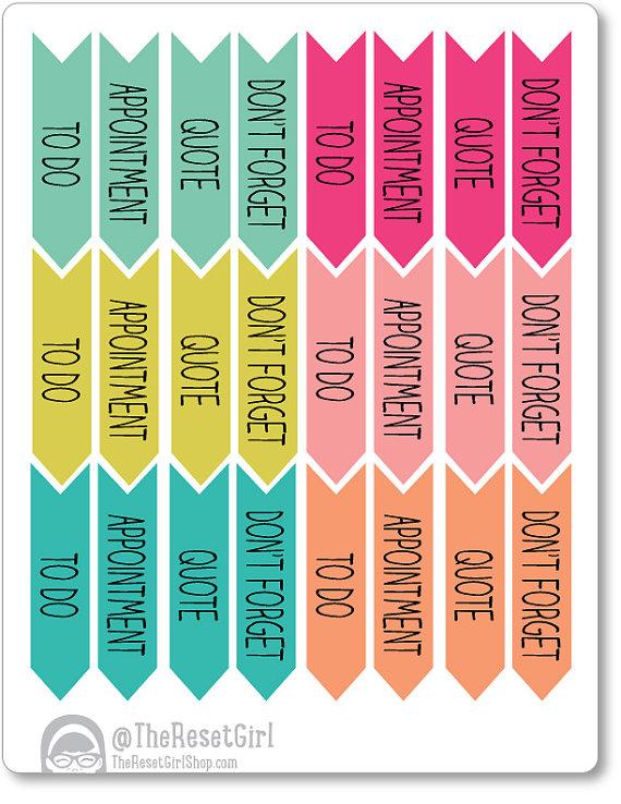 Printable Planner Reminder Stickers