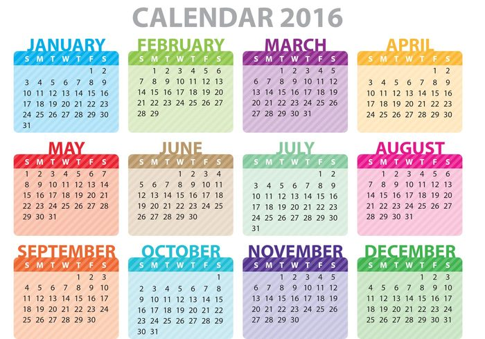 Colorful Printable Calendar 2016