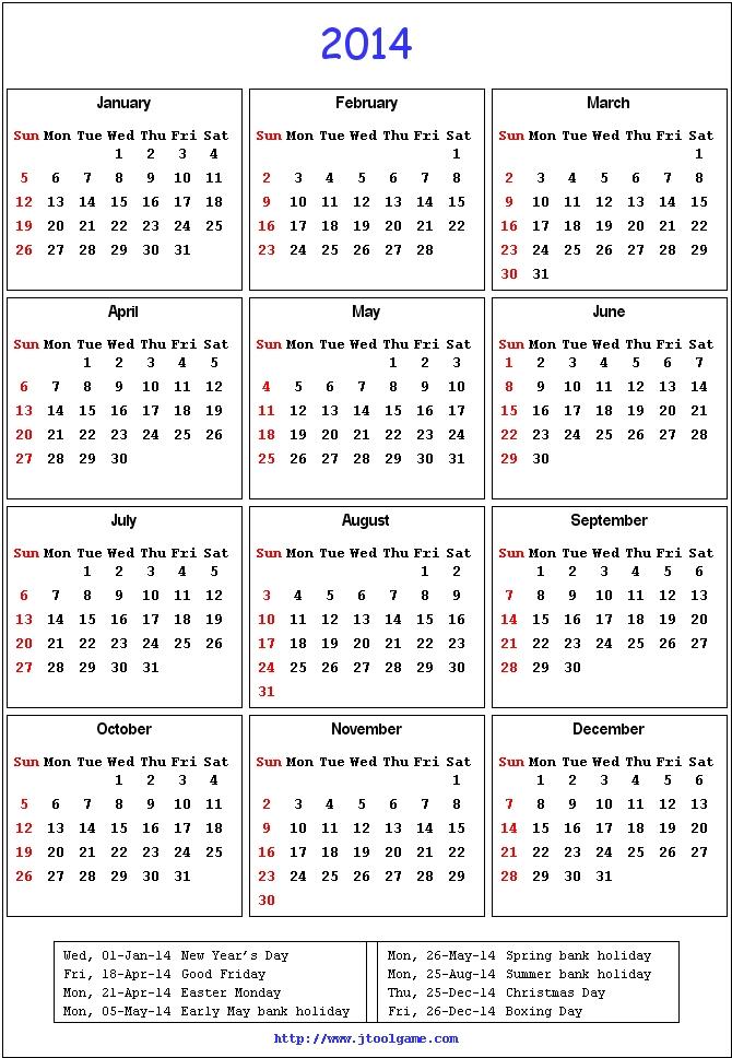 2014 Calendar with Holidays UK