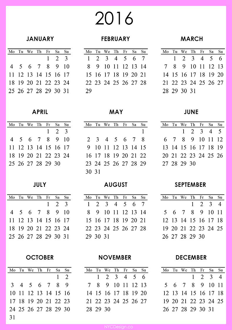 A5 2016 Monthly Calendar Free Printables