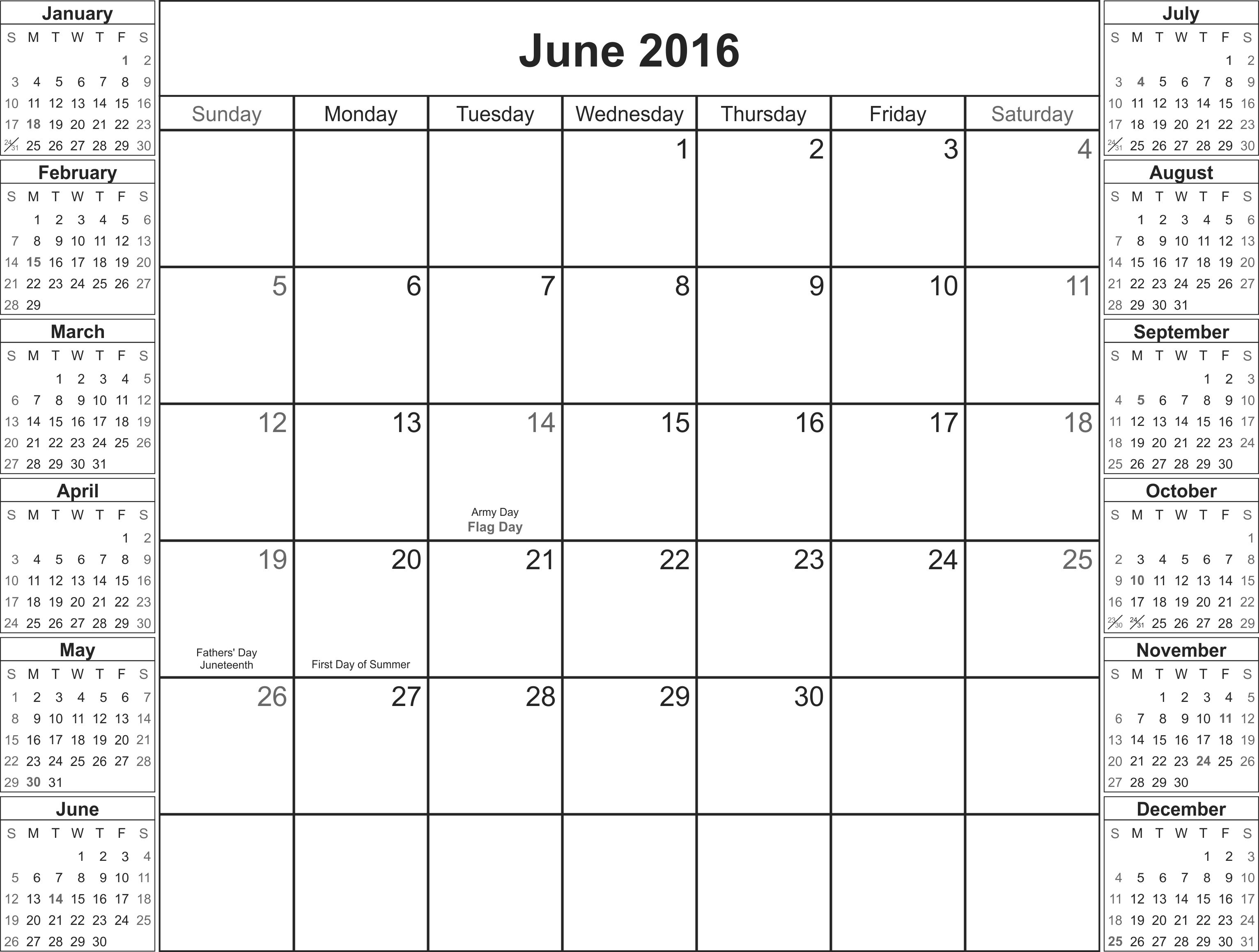 June 2016 Calendar Printable Org
