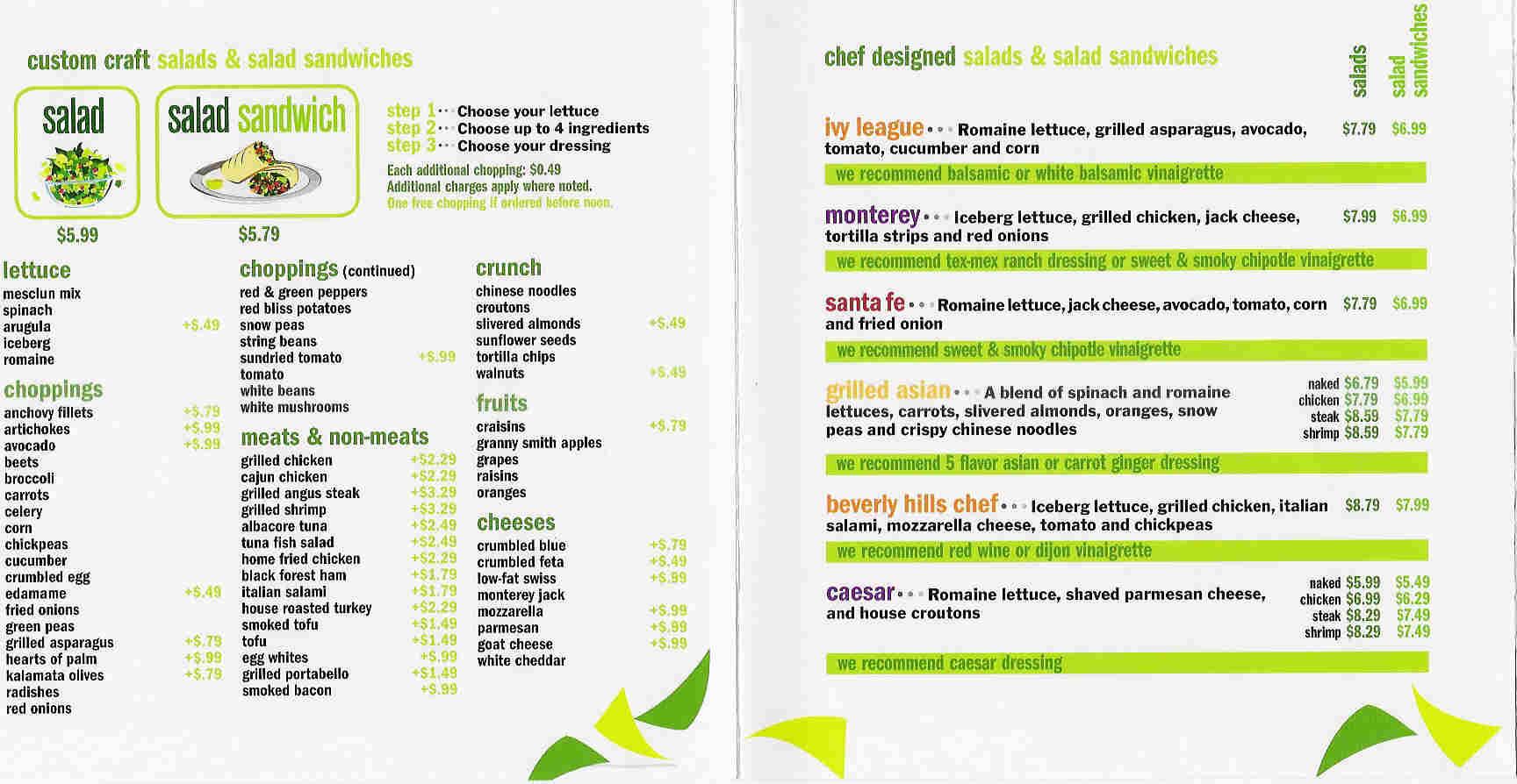 Chopt Salad Menu