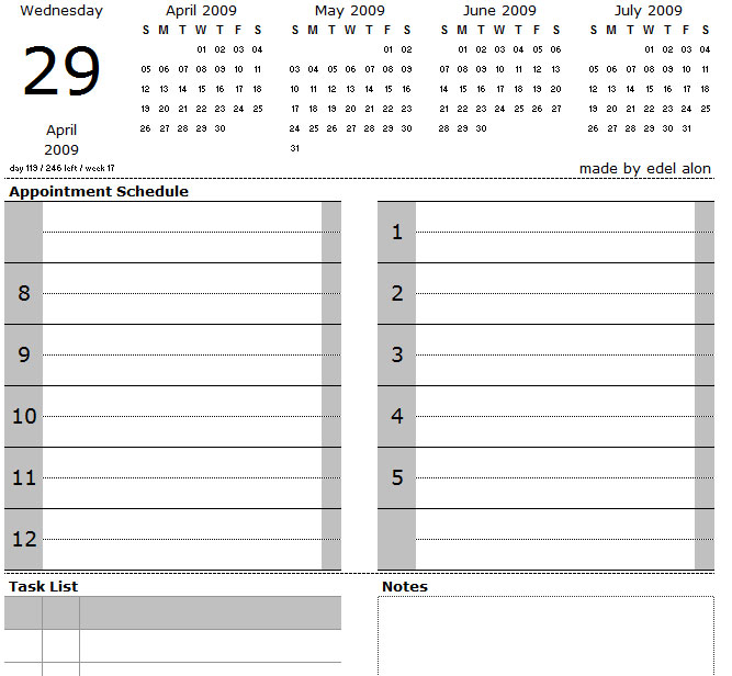 Printable Daily Calendar with Notes