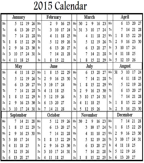 2015 Calendar with Holidays List