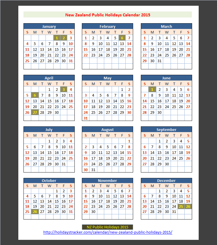 2015 Calendar with Holidays Australia