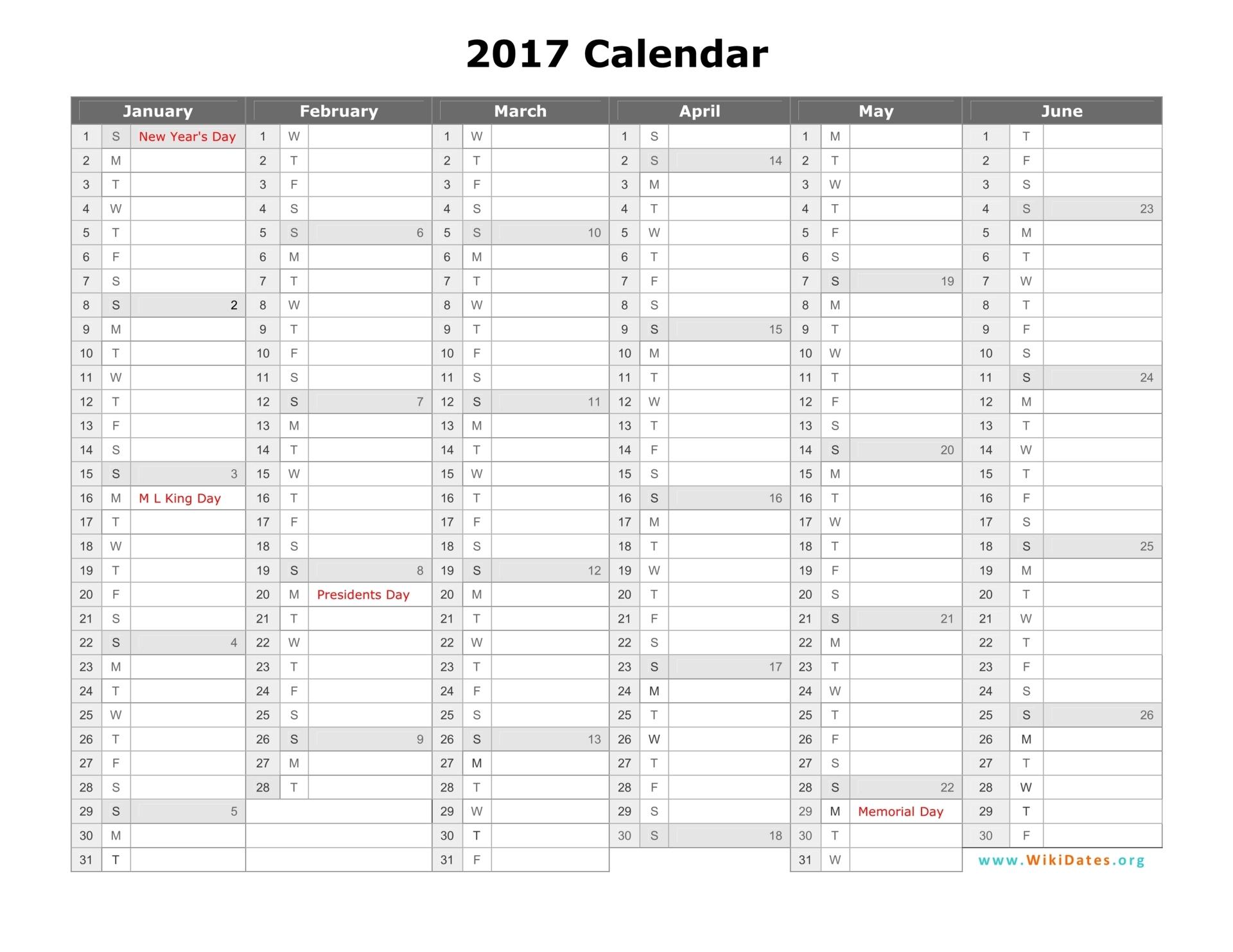 12 Month Calendar 2016 2017