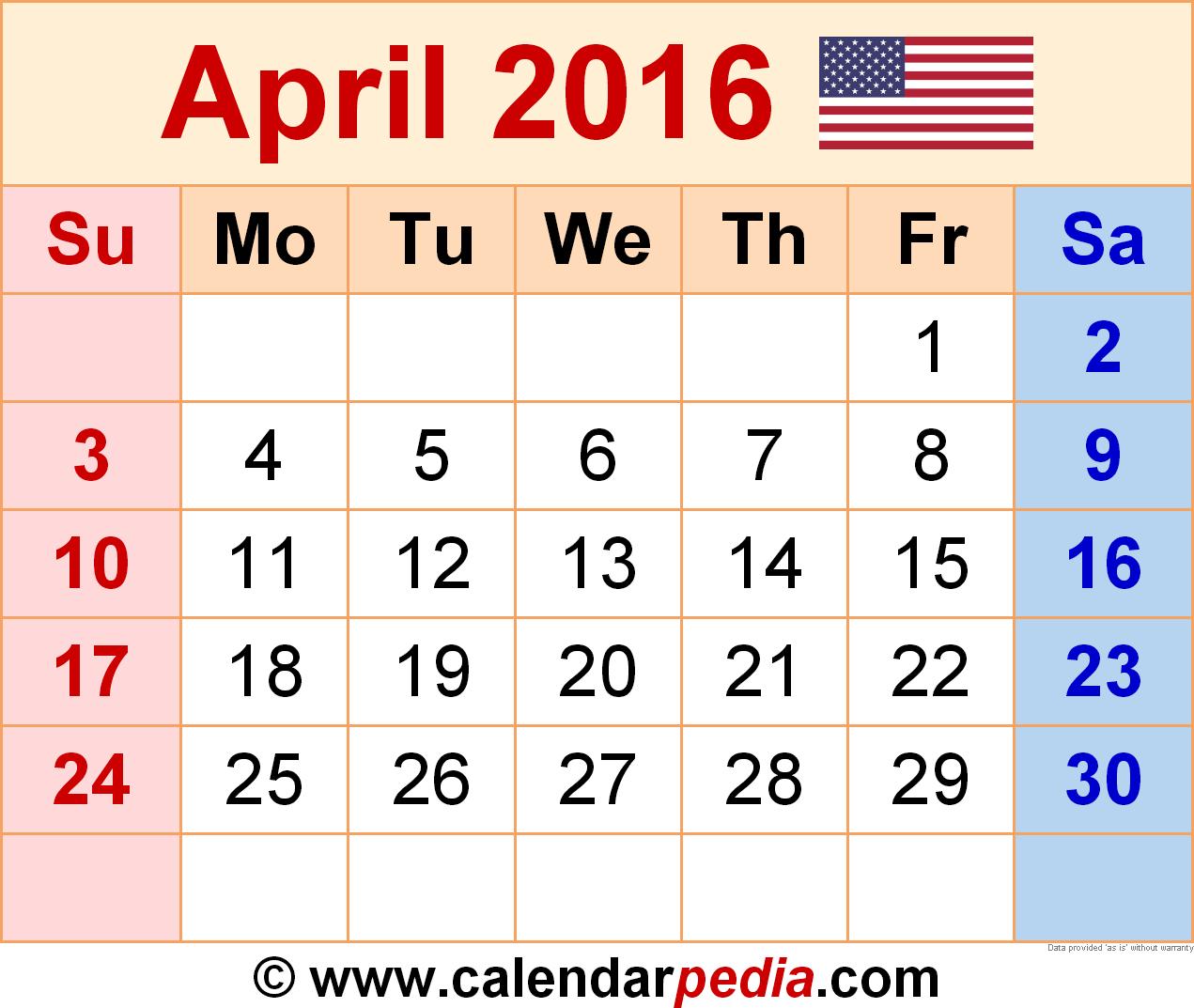 April 2016 Calendar Printable June
