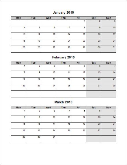 6 Best Images of Printable 3 Month Same Page 2016 Monthly Calendar