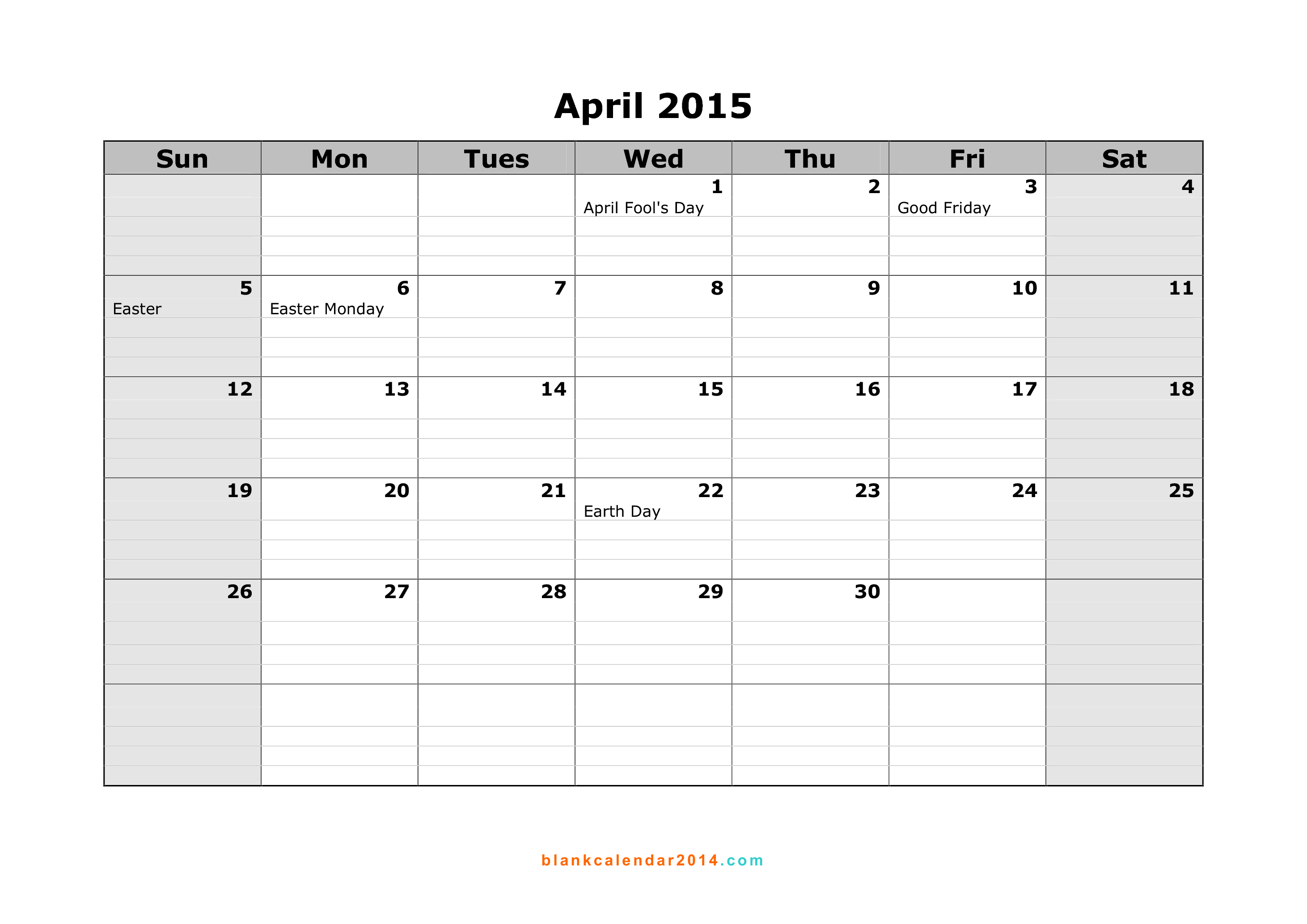 April 2015 Calendar Free Printable Calendar Templates