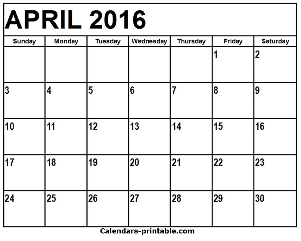 April 2016 Calendar Word