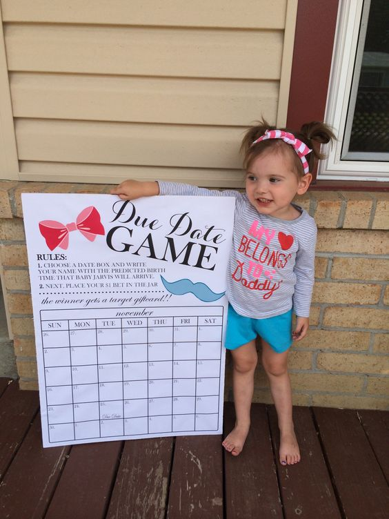 Gender reveal due date calendar game! 20x28 size poster board