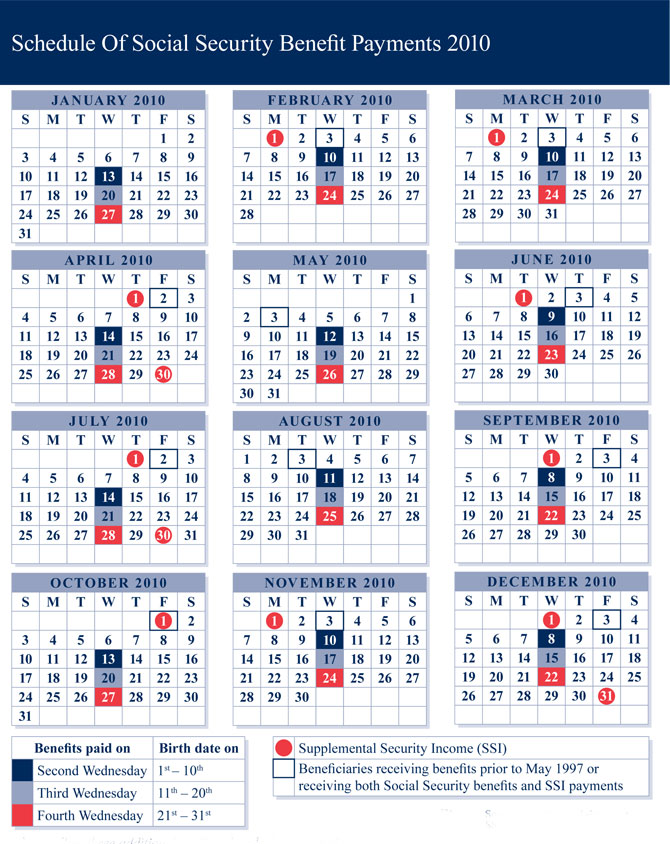 Social Security Disability Benefit Payment Calendar ...