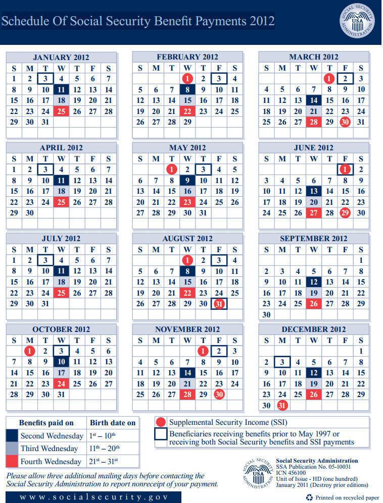 Ss Payment Calendar 2016 | Blank Calendar Design 2016