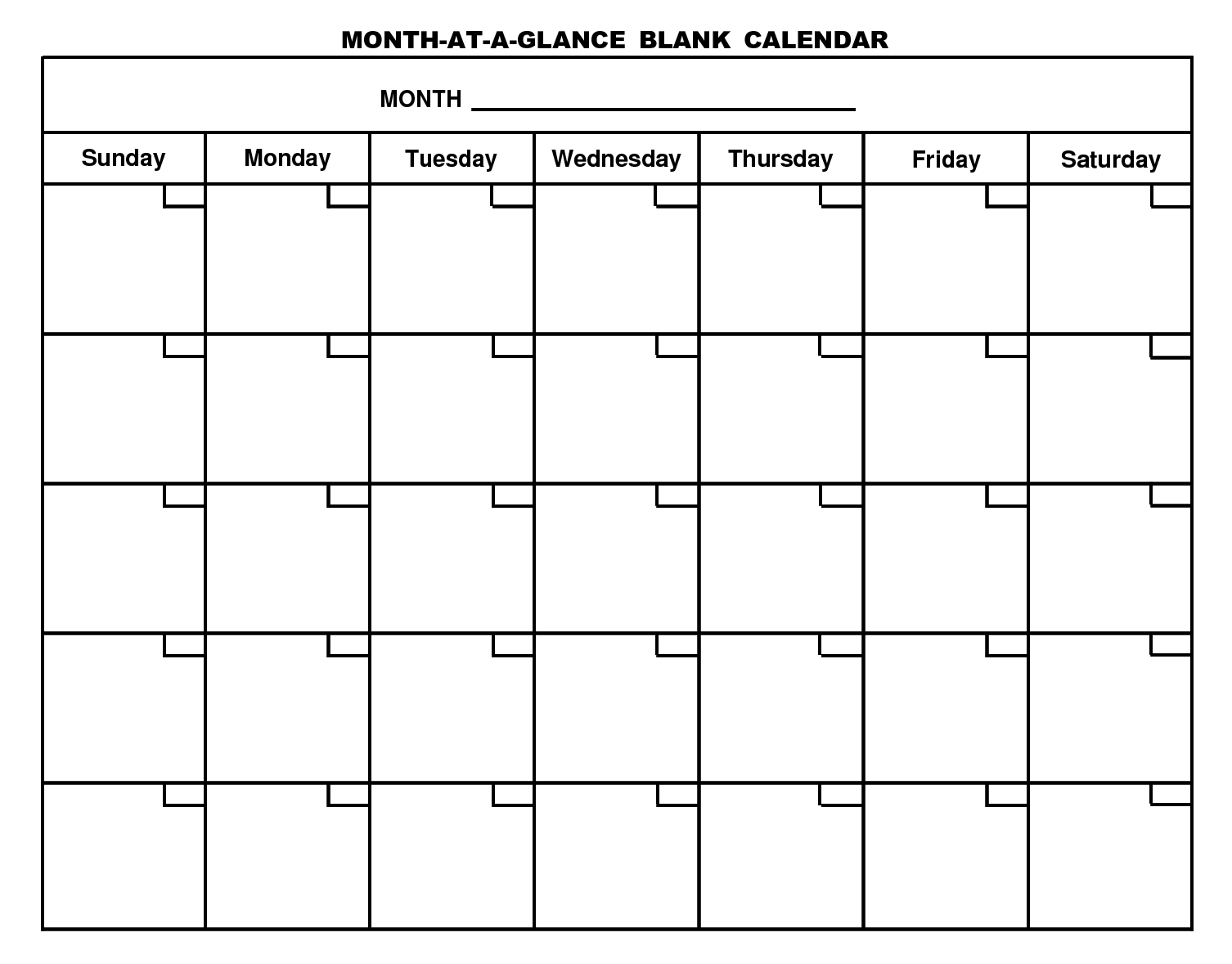 6 Best Images of Month At A Glance Blank Calendar Printable