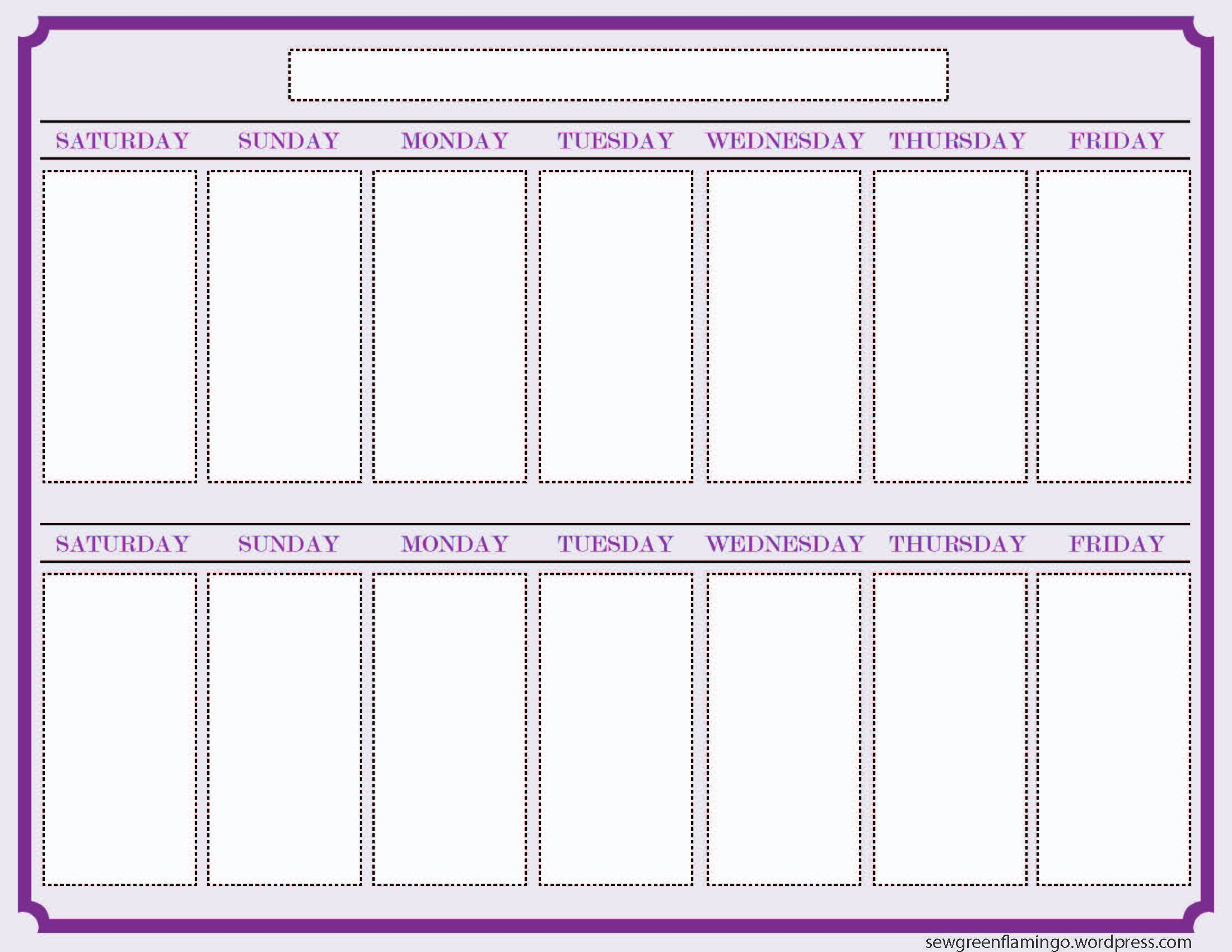 7 Best Images of 2 Week Calendar Template Printable Printable 2