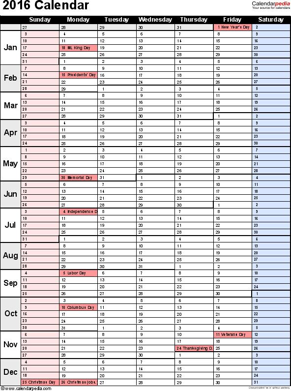 2016 Calendar Planner Template