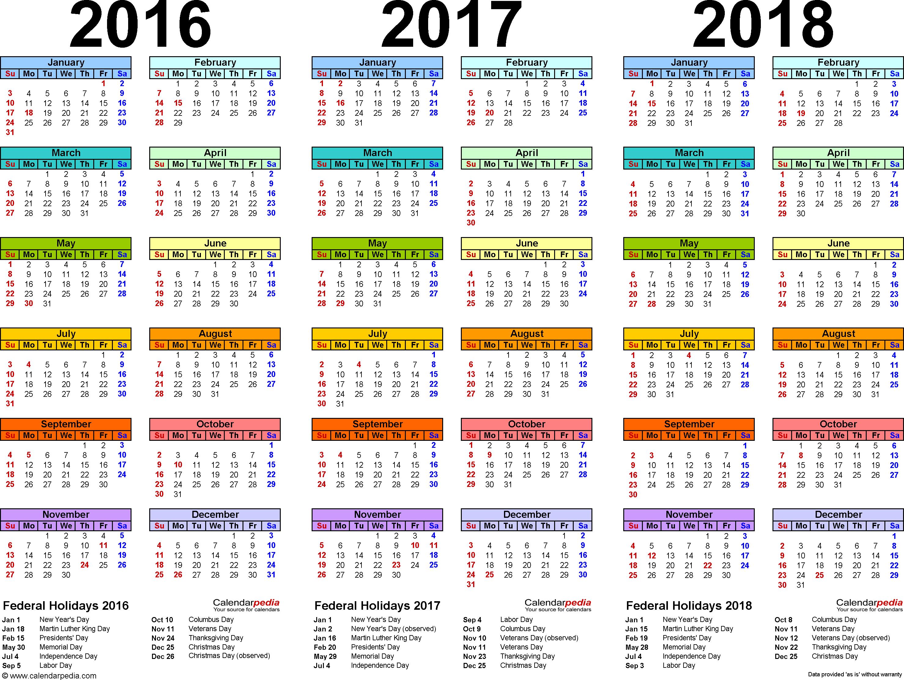 Calendar 2016 2017 2018 Printable