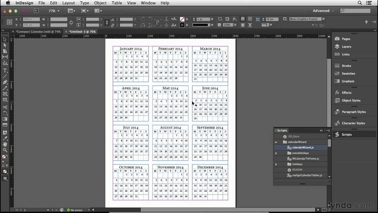 Indesign Calendar Wizard Tutorial (Foto book hack 2012) 2016 10 19