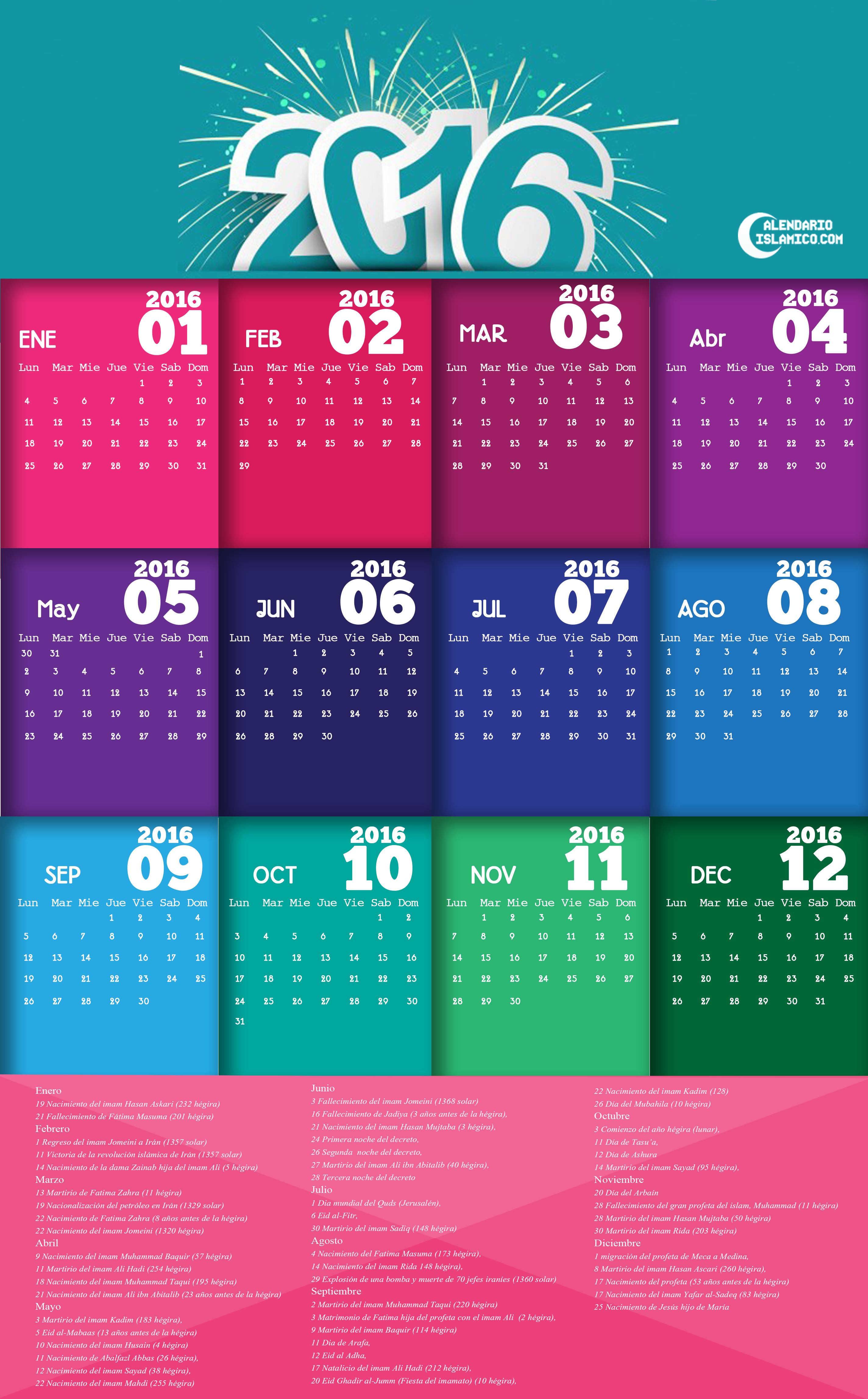Calendario islamico 2016 de pared (conjunto3) Calendario