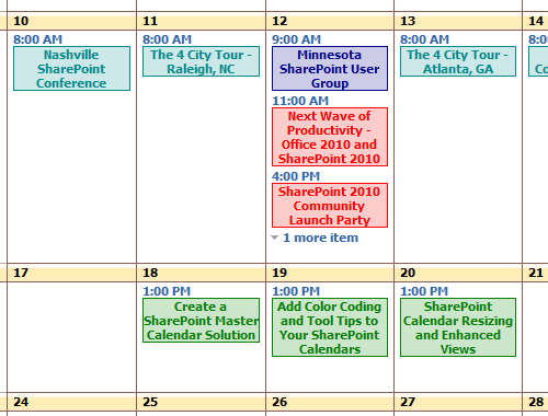 Tutorial: add color coding to your SharePoint 2007 calendar in 15