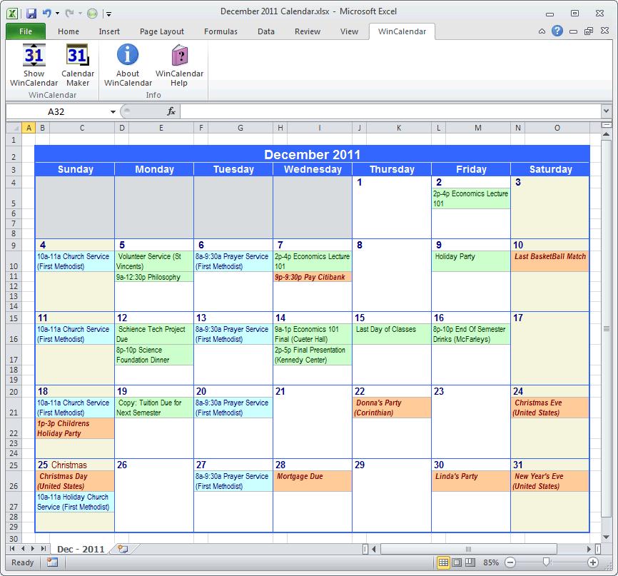 Outlook Calendar Template Excel