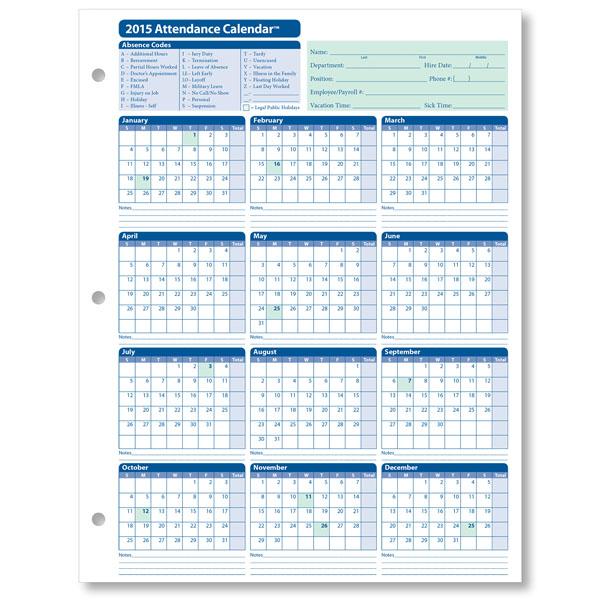 Printable Attendance Calendar 2016 Employee Attendance Calendar