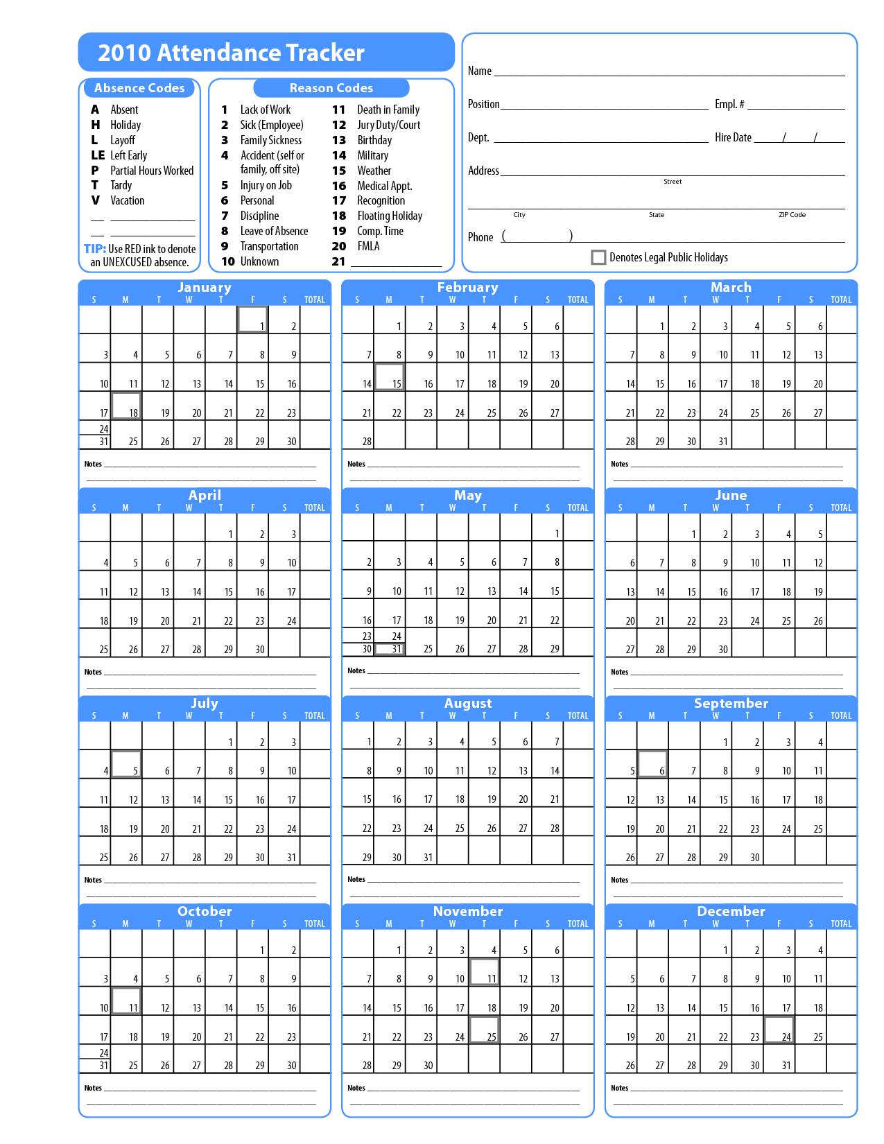 Free Template For Attendance Calendar | Blank Calendar Design 2016
