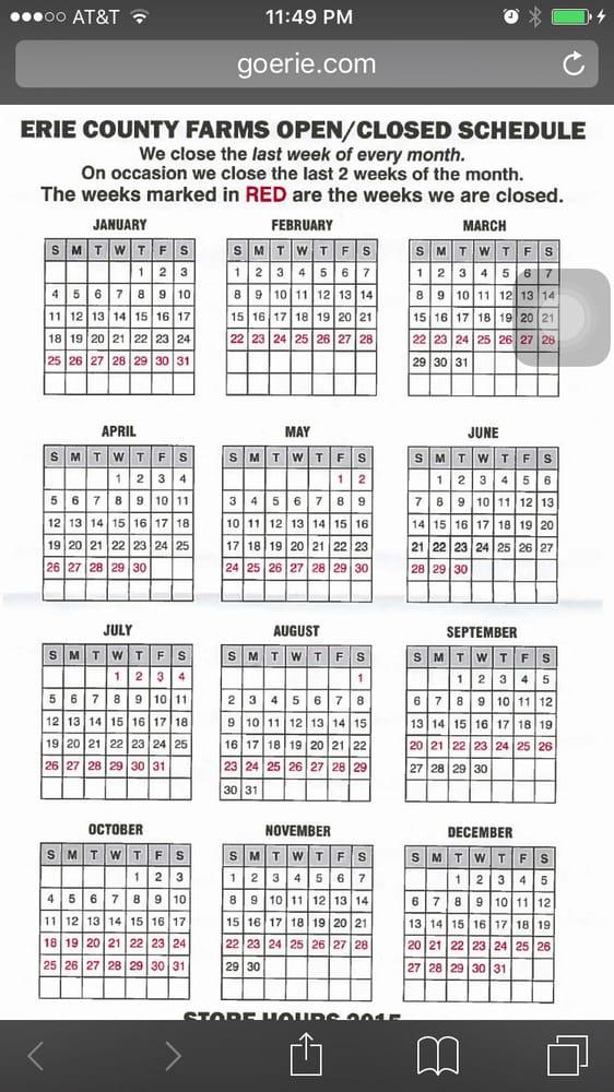 Their calendar Yelp
