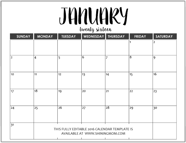 blank fillable calendar