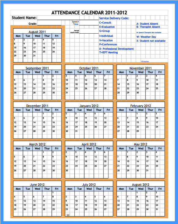 free employee attendance calendar