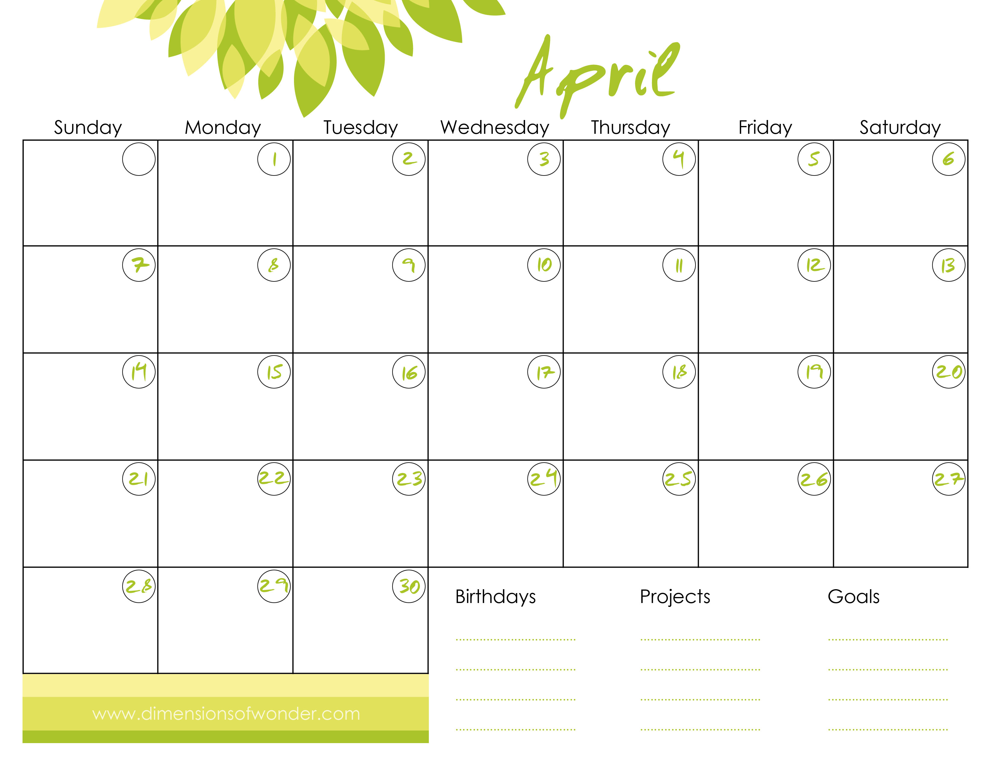 Free Online Calendar PDF Month on a Page